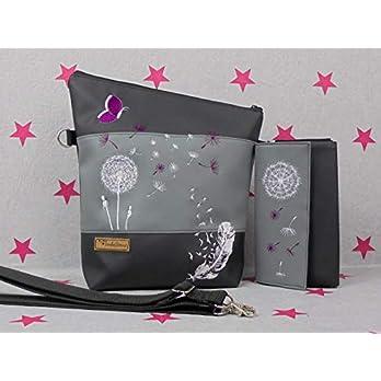 pinkeSterne ☆ PUSTEBLUME Handtasche + Portemonnaie Umhängetasche Geldbörse Feder Schmetterling