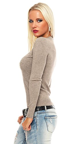 10869 Fashion4Young Damen Feinstrick-Pullover Pulli V-Ausschnitt Strickpullover Strick Shirt Strass Cinder