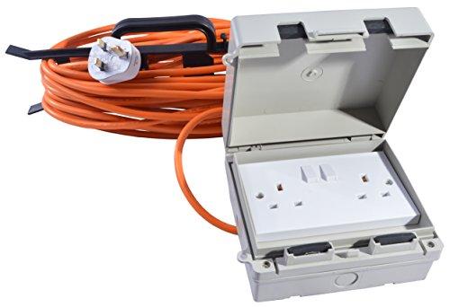 All Lengths 13 AMP Weatherproof Mains Outdoor Extension Lead IP65 Orange 2 Socket (15m)