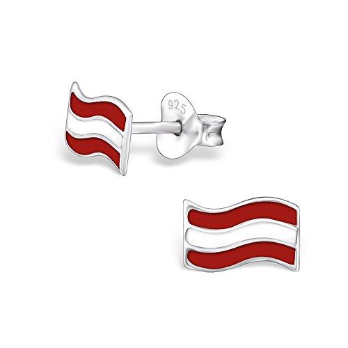 Laimons Damen-Ohrstecker Damen-Schmuck Flagge Österreich Sterling Silber 925