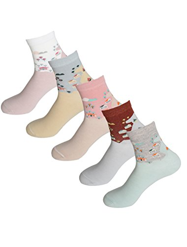 sourcingmap® 5 Paar Damen Stretch Multi Muster alle Jahreszeiten Crew Socken