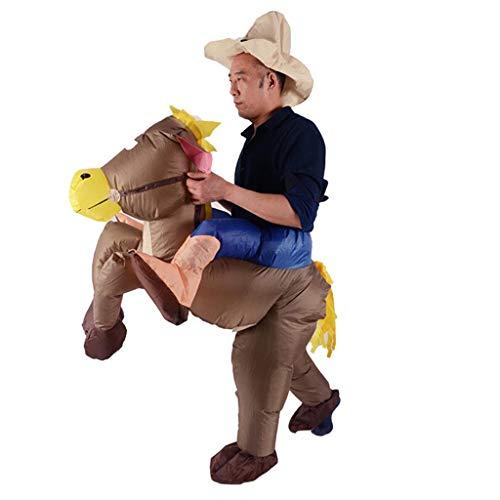 D DOLITY Aufblasbares Kostüm Fatsuit Luft Fett Anzug mit Esel Reiter Figur für Menschen 1.5 - 1.8 M