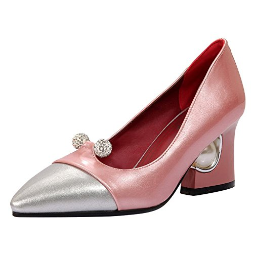 Mee Shoes Damen Blockabsatz Strass mehrfarbig Pumps Pink