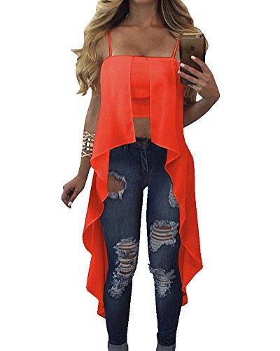 Donna Tinta Unita Senza Maniche Fionda Camicia Gilet Orlo Irregolare T-Shirt Tops Orange