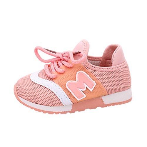Schnür Turnschuhe Kleinkind Kinder, DoraMe Baby Jungen Mädchen Sneaker Brief Sport Laufschuhe Solide Mesh Schuhe für 0.5-6 Jahr (2 Jahr/Size(CN):23, Rosa) (Mesh-größe Diagramm)