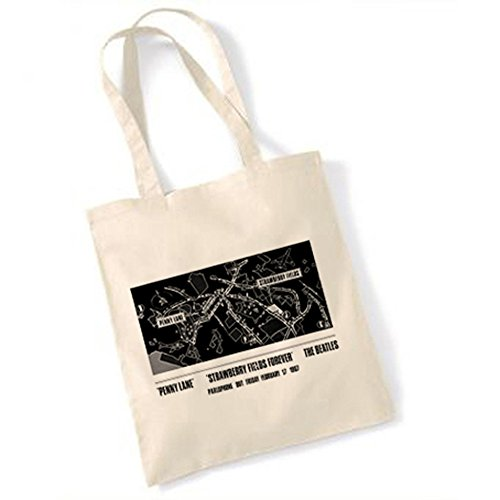 Price comparison product image The Beatles Penny Lane - Strawbery Fields Forever Advert 1967 Natural Tote Bag
