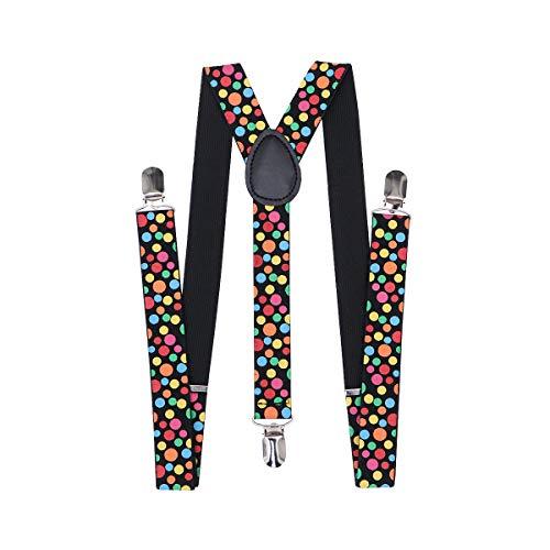 Tinksky Polka Dot Braces Hosenträger Clown Fancy Dress Kostüm für Festival Karneval Anti-Falten Non-Slip-Clip Elastische Hosenträger für Männer und Frauen
