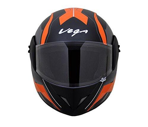 Vega Cliff DX Pioneer Full Face Helmet (Dull Black and Orange, M)