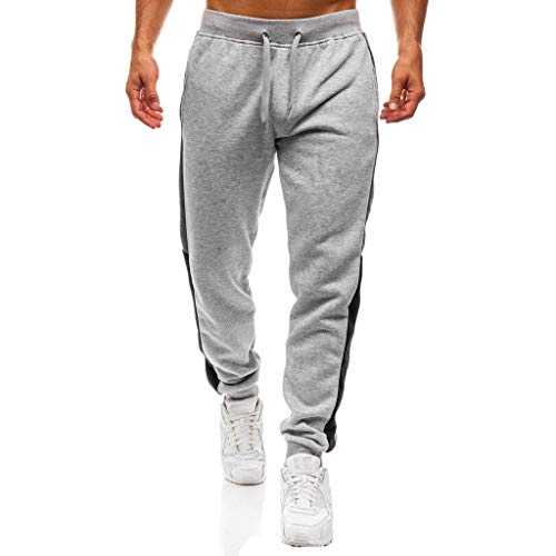 Mymyguoe Lang Fitness Trainingshose Herren Slim Fit Jogginghose mit Farbblock Side-Stripe Jogger Streetwear Sporthose mit Kordelzug Schmale Knöchel Hosen Trekkinghose Sweatpants ()