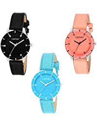 CARTNEY Combo Pack of 3 Analogue Black Dial Girl's Watch - (CLR3)