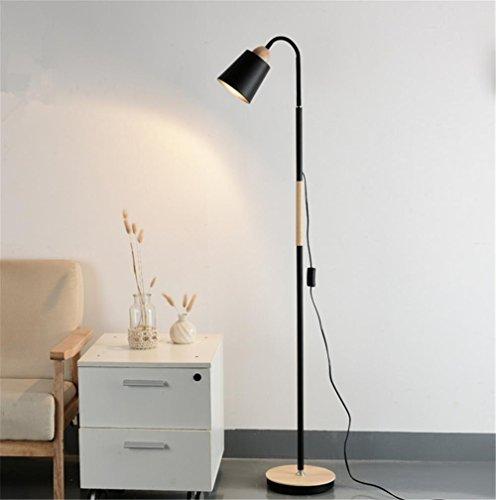 Glas 3-licht-arc (Standleuchte Stehlampe LED-Leselampe-voll einstellbare Hals-3 w-Naturholz , A)
