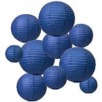 """LIHAO 6"""" 8"""" 10"""" 12"""" Linternas de Papel Farolillo Papel Redondo para Fiesta Decoraci¨®n (10piezas, Azul Oscuro)"""