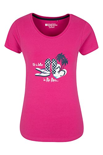 Mountain Warehouse Life is Better Damen-T-Shirt Rosa DE 36 (EU 38) (Life Mountain T-shirts)
