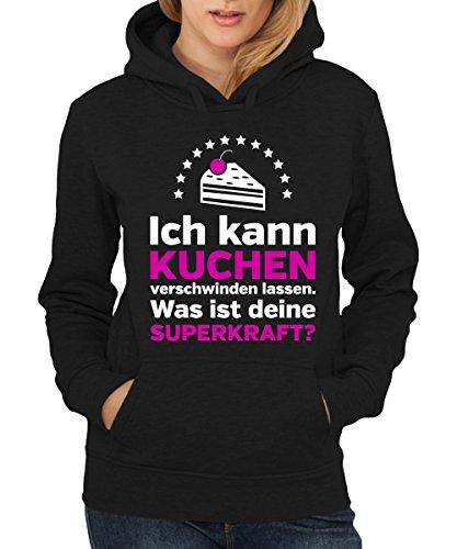 -- Ich kann Kuchen verschwinden lassen ... -- Girls Kapuzenpullover Schwarz, Größe (Scrubs Superhelden)