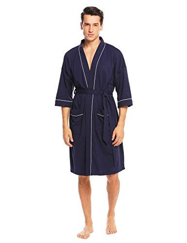 ADOME Herren Morgenmantel V-Ausschnitt mit Zwei Tasche kurzform Bademantel mit Gürtel Nachthemd Nachtwäsche