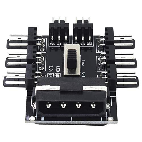 Cikuso PC 1 zu 8 4Pin Molex Kühler Lüfter Hub Splitter Kabel PWM 3 Pin Netzteil Drehzahlregler Adapter für PC Mining -