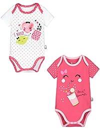 Petit Béguin - Lot de 2 bodies manches courtes bébé fille Strawberry 888641dbbab