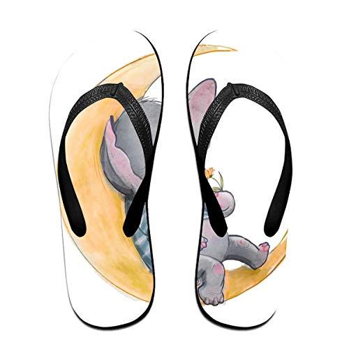 Huyotop Little Pocket - Chanclas de Verano, diseño de Elefante con Dibujos Animados, Color Negro, Talla Small