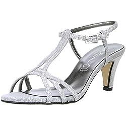 Vista Damen Glitzer Sandaletten silber, Größe:37, Farbe:Silber