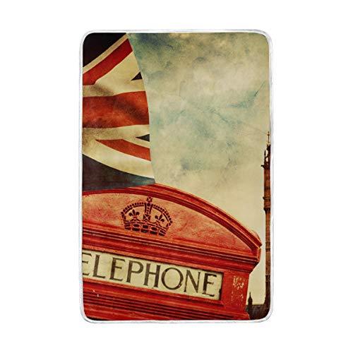 vinlin Manta de Lana London Payphone Big Ben, de Terciopelo, acogedora, cálida,...
