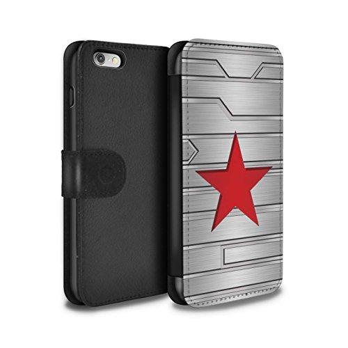 Stuff4® PU-Leder Hülle/Case/Tasche/Cover für Apple iPhone 6 / Winter Soldier Inspiriert Muster/Antiheld Comic-Kunst Kollektion