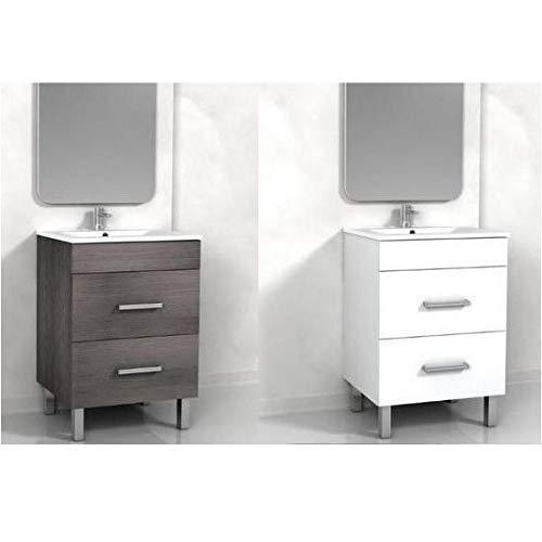 Bagno Italia Badheizkörper weiß oder grau mit Zwei Schubladen 60 x 46 cm Waschbecken Keramik Füße