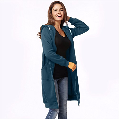 Vovotrade ❀❀ Women Warm Zipper Open Hoodies Sweatshirt Long Coat Jacket (Size:L, Blau) (Womens Baumwolle Long Hoodie)