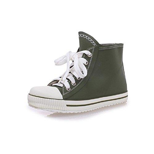 Mode Belle Enfants Ceinture série Pluie Chaussures Pluie Bottes Army Green