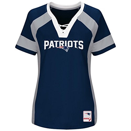 "New England Patriots Women's Majestic NFL ""Draft Me 3"" Jersey Trikot Top Shirt - Navy,S"