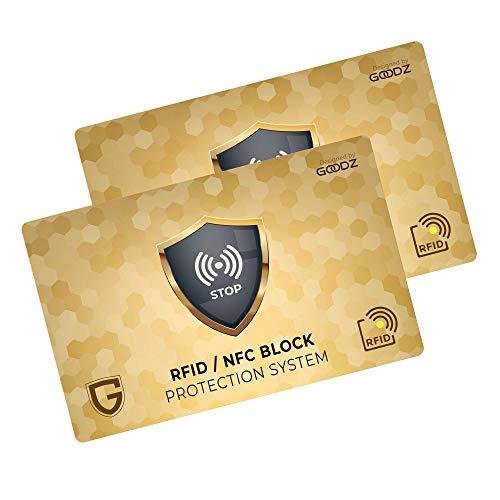 Carta Di Blocco GOODZ - Protezione RFID/NFC per Carta Di Credito, Portafoglio Uomo e Donna: RFID Blocking Protection per Porta Carte Di Credito, Bancomat - Protegge l'intero Portafoglio (Pacco da 2)