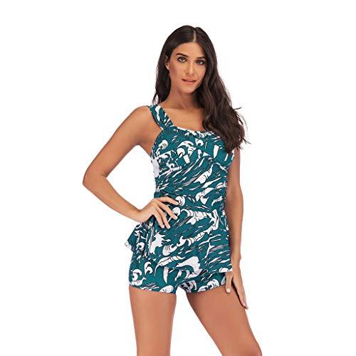 Swimsuit Womens Criss Cross Back - Tankini-Top mit Blockmuster und Boyshorts-Badeanzug (Farbe : Grün, größe : M) Back Tank Dress