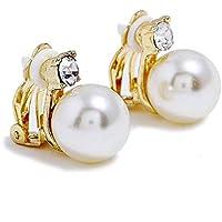 Bodbii 1 perla de cristal pair pendientes de clip de las mujeres joyería de la boda Mujer Sin Pendientes Piercing