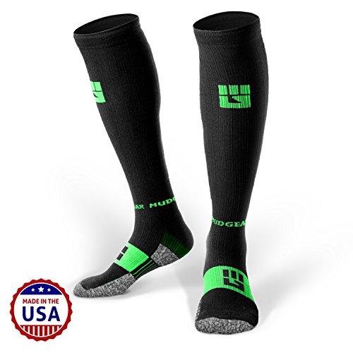 mudgear compresión calcetines–hombre y mujer de calcetines de Running fabricado en Estados Unidos para deportes al aire libre rendimiento y recuperación, Negro/Verde