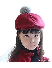 IBLUELOVER Béret Enfant Fille Garçon Casquette Plate Bonnets Hiver Chaud en Laine  Chapeau Classique Artiste Français Solide Couleur… 5bf9e4cb747