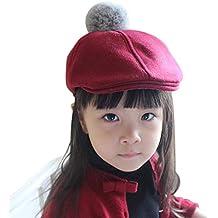 Boina niño niña niño gorra plana Sombreros de invierno Sombrero de lana  cálido Clásico francés Artista e910dbf11d4