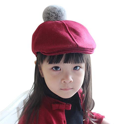 IBLUELOVER Baskenmütze für Kinder, Mädchen, Jungen, flach, Mütze, Winter, warm, aus Wolle, klassisch, französische Künstler, solide Farbe, Beanie Flat Cap für Kostüm, rot (Künstler Kostüm Kind)