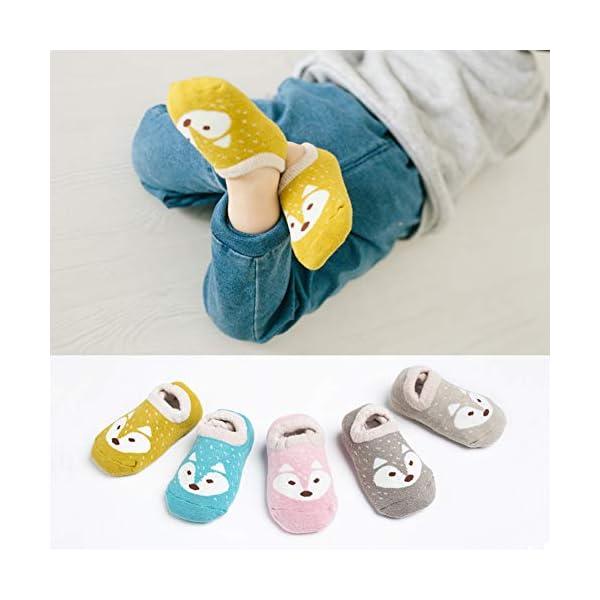 Estwell 5 Pares Calcetines Antideslizantes para Bebé Niños Infantil Niños Niñas Algodón Calentar Lindo Zorro Calcetines 4