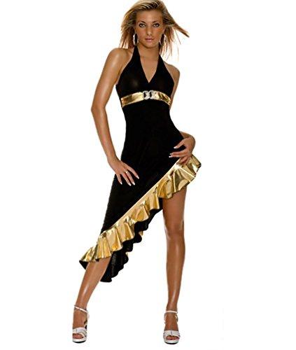 YOUJIA Damen Neckholder Salsa Tango Samba Kleider Dance Kleidung Tiefem V-Ausschnitt Tanzkleider Lateinamerikanische Tanzkleider (Kostüm Salsa)