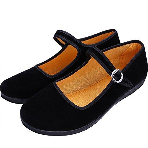 Janes Schwarz Schuhe Mary (S&L Damen Mary Jane Halbschuhe Schwarz)