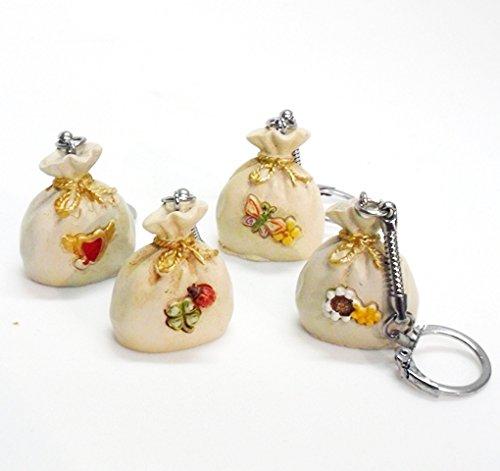 Bomboniere (24 bomboniere) portachiavi sacchetti in resina