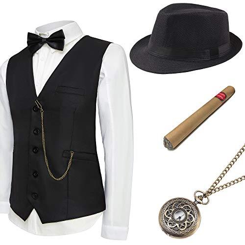 Coucoland 1920s Accessoires Herren Mafia Gatsby Kostüm Set inklusive Panama Gangster Hut Herren Weste Halsschleife Fliege Taschenuhr und Plastik Zigarre (Schwarz, L) (20er Jahre Herren Kostüme)
