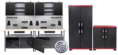 Werkstatteinrichtung 240 cm + 2x Powercab XXL Werkzeugwand-Lochwand mit Haken + 2x LED Touchlampe 24...