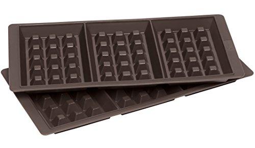 Lurch FlexiForm Waffel Silikonbackform, 3 Fach, 2er Set, Silikon, Braun, 29 x 15 x 3 cm - Silikon-form Waffel