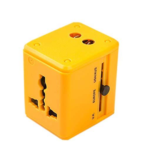 GYLFDC Universal-Reiseadapter, Dual-USB-Umwandlungsstecker, Multifunktions-Reisestecker, Universal-Smart-Plug-Konverter-Steckdose für USA AUS UK Europe,Yellow