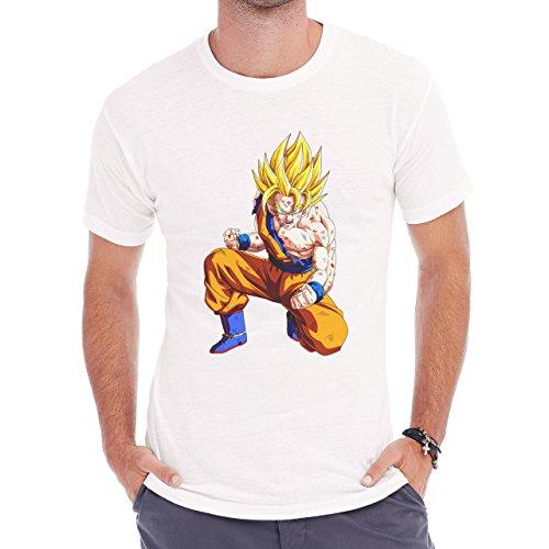 Dragon Ball Z Son Goku Yellow Hair Herren T-Shirt Weiß