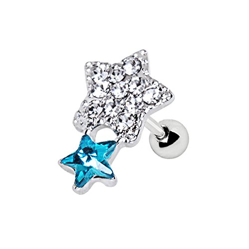 Clear & Aqua Kristall Shining Star 1,2mm x 6mm Chirurgenstahl Tragus Cartilage Ober Ear Ohrring (Shining Kostüm Star)