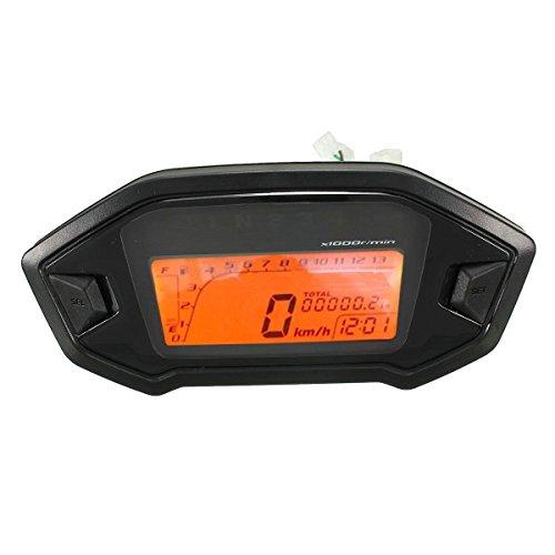 Odometro LCD - TOOGOO(R)Oodometro velocimetro velocimetro calibrador universal de retroiluminacion LCD digital...