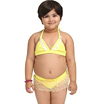 Fascinating Lingerie Womens Bikini Sets (Flpltlpgtyhbs001_3-4 Years _Yellow _3-4 Years)