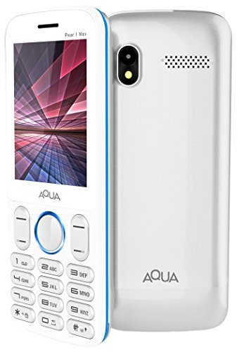 Aqua Pearl Max - 2.8 Inch BIG Display Dual SIM Basic Keypad Mobile Phone with 3600 mAh Battery and Power bank Feature -White Blue