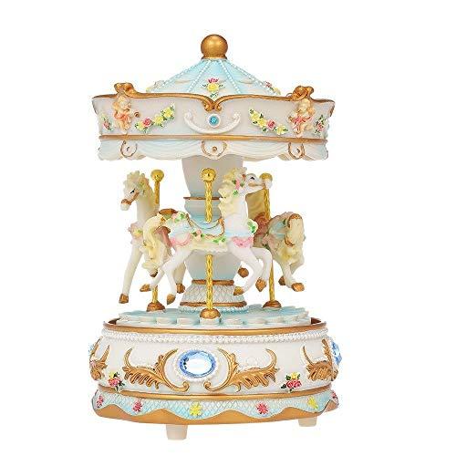 Jamisonme Musical Box Mini Carousel Clockwork Castle in The Sky Music Box Colorful LED Carousel (Blue)